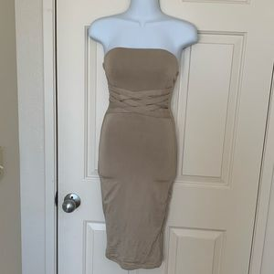 OhPolly Strapless Tube Dress with Waist Detail